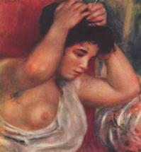 Молодая женщина делающая прическу