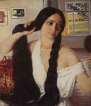 Девушка с черными косами
