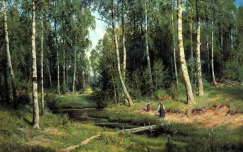 Иван Шишкин. Ручей в березовом лесу