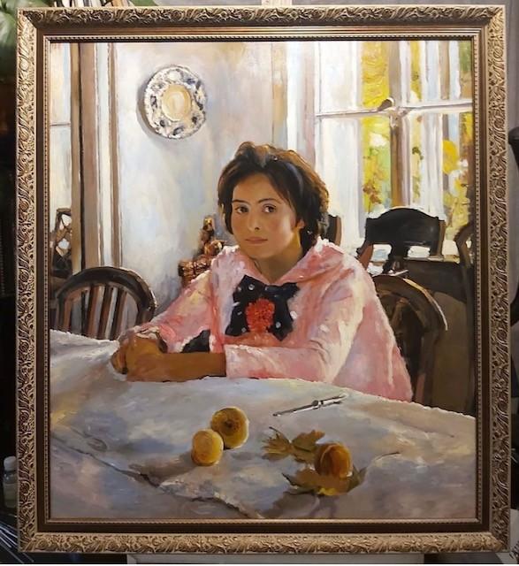 """Копия картины Серова - """"Девочка с персиками""""."""